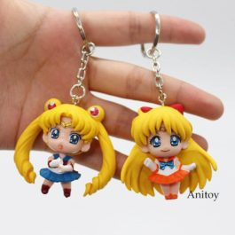 Anime Sailor Moon Mars Jupiter Venus Mercury Keychains Action Figures Toys Dolls