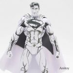 DC Comics Superman Line Drawing Blueline Edition Superman Doll PVC Action Figure