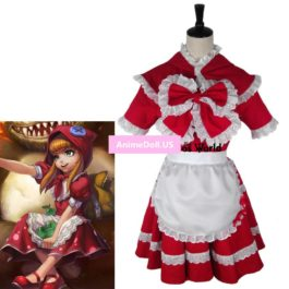 LOL Annie Little Red Hood Maid Apron Dress Uniform Outfit Games Halloween Hallowmas Festival Cosplay Costumes