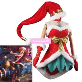 LOL Jinx the Loose Cannon Ice Snow Festival Christmas XMAS Boob Tube Top Dress Uniform Outfit Games Cosplay Costumes