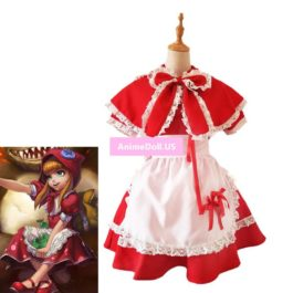 LOL Annie Little Red Hood Maid Apron Dress Uniform Outfit Halloween Hallowmas Festival Cosplay Costumes