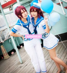 Free! Eternal Summer Rin Matsuoka Sailor Suit School Uniform Outfit Anime Cosplay Costumes