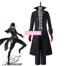Persona 5 Hero Protagonist Joker Kaitou Ver Dust Wind Coat Overcoat Shirts Pants Uniform Outfit Games Cosplay Costumes