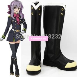 Seraph of the end Hiiragi Shinoa Unisex Anime Cosplay Costumes Shoes Boots Customize