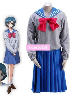 Sailor Moon Crystal Mizuno Ami School Uniform Sailor Suit Tops Pullover Sweater Hoodie Dress Outfit Anime Cosplay Costumes
