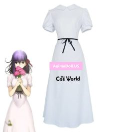Fate/Stay night HF Matou Sakura White Dress Uniform Outfit Anime Cosplay Costumes