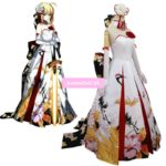 Fate stay night Nero Saber New Year Ceremony Crane Wedding Dress Full Dress Formal dress Uniform Outfit Cosplay Costumes