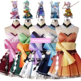 Vocaloid Mercy Dance GUMI Hatsune Miku Yowane Haku Megurine Luka Kasane Teto Kimono Tee Dress Uniform Outfit Cosplay Costumes