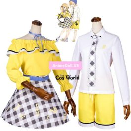 Vocaloid Kagamine Len Shirt Pants Kagamine Rin Tops Dress Uniform Outfit Anime Cosplay Costumes