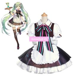 Vocaloid Hatsune Miku Cafe Lolita Maid Apron Dress Uniform Outfit Anime Cosplay Costumes