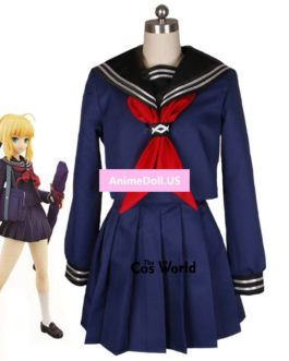 Fate Zero stay night Saber Arturia Pendragon Sailor Suit School Uniform Tops Dress Outfit Anime Cosplay Costumes