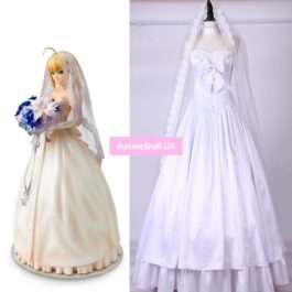 Fate Zero TYPE Moon Saber Arturia Pendragon 10th Anniversary Wedding Dress Uniform Outfit Anime Cosplay Costumes