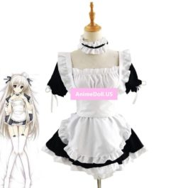 Yosuga no Sora Kasugano Sora Maid Apron Tube Top Tee Dress Meidofuku Uniform Outfit Anime Cosplay Costumes