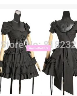 Gothic Lolita Layered Dress Short Sleeve Dresses Uniform Outfit Cosplay Costumes Any Size