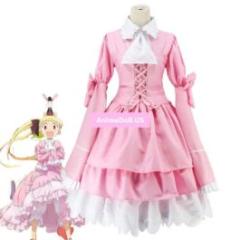 Alice & Zouroku Kashimura Sana Pink Maid Court Full Dresses Uniform Outfit Anime Cosplay Costumes