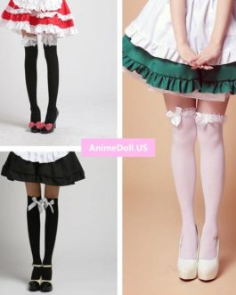 Lolita Bowknot Lace Over The Knee Long Stocking Socks Thighhighs For Maid Dress Cosplay Costumes