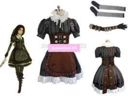 Alice Madness Returns Alice Maid Apron Dress Uniform Outfit Cosplay Costumes