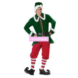 Mens Boys Halloween Christmas Costumes Party Suit Xmas Gift Elf Tops Coat Pants Uniform Outfit Cosplay Costumes Full Set