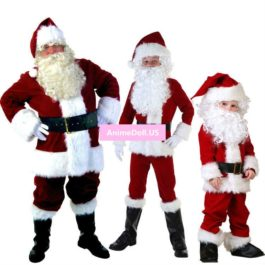 Mens Adult Boy Kids Santa Claus Father Christmas Costumes Suit Xmas Gift Uniform Parent-child Outfit Cosplay Costumes Full Set