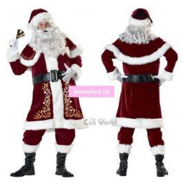 Mens Adult Santa Claus Father Christmas Costumes Festival Party Suit Xmas Gift Uniform Outfit Cosplay Costumes Full Sets