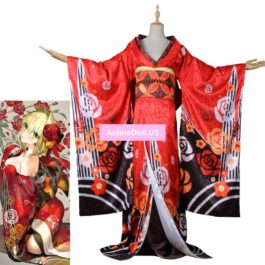 Fate EXTELLA Saber Nero Kimono Yukata Dress Uniform Outfit Anime Cosplay Costumes