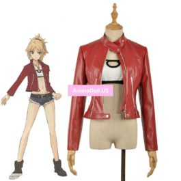 Fate Apocrypha Red Saber Mordred Boob Tube Tops Coat Jacket Uniform Outfit Anime Cosplay Costumes