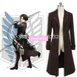 Attack on Titan/Shingeki no Kyojin Levi Ackerman Wind Coat Jacket Outwear Uniform Outfit Anime Cosplay Costumes