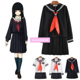 Jigoku Shoujo Enma Ai Sailor Suit School Uniform Tops Dress Outfit Anime Cosplay Costumes