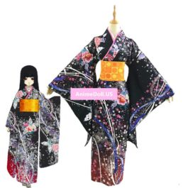 Jigoku Shoujo Enma Ai Kimono Yukata Maid Dress Outfit Uniform Anime Cosplay Costumes