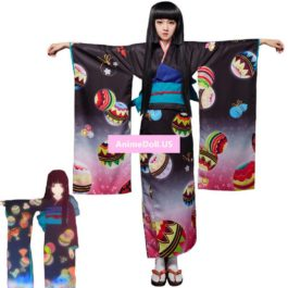 Jigoku Shoujo Enma Ai Japanese Kimono Yukata Maid Dress Uniform Outfit Anime Cosplay Costumes