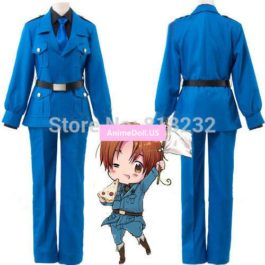 APH Axis Powers Hetalia North Italy Feliciano Vargas Uniform Outfit Cosplay Costume Coat+Shirt+Pants+Belt+Tie