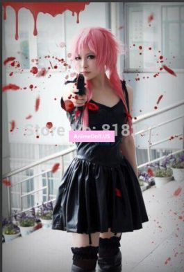 Future Diary Gasai Yuno Bonded Leather Slip Dress Uniform Outfit Cosplay Costumes