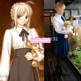 Fate/stay night Saber Altria Pendragon High Waist Tunic Skirt School Uniform Outfit Anime Cosplay Costumes