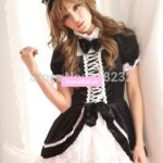 Girl's Lolita Lace Princess Dresses Black&White Short Sleeve Maid Outfit Uniform Cosplay Costumes