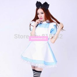Alice in Wonderland Halloween Lolita Princess Dresses Apron Dress Maid Outfit Uniform Anime Cosplay Costumes