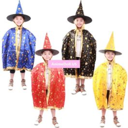 Halloween Hallowmas Adult Children Kids Witch Enchanter Stars Cloaks Capes Cosplay Costumes Christmas Gift Present