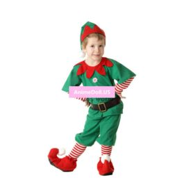 Mens Boys Children Kids Christmas Costumes Suit Xmas Gift Elf Tops Pants Uniform Parent-child Outfit Cosplay Costumes Full Set