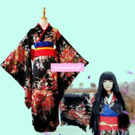 Jigoku Shoujo Enma Ai Maid Dress Kimono Yukata Uniform Outfit Anime Cosplay Costumes
