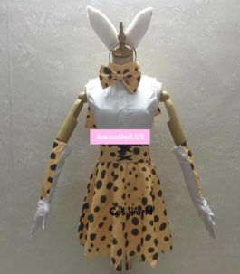 Kemono Friends Project Leptailurus Serval Zoo Animal Polka Dot Leopard Print Dress Uniform Outfit Anime Cosplay Costumes