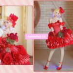 Fate EXTELLA Nero Red Saber Rose Formal Dresses Uniform Outfit Anime Cosplay Costumes
