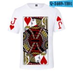 Latest 3D Poker J Q K T-shirt Men/women Summer O-Neck sweatshirts Fashion 3D Poker White T shirt Boys/girls Casual T-shirt v1