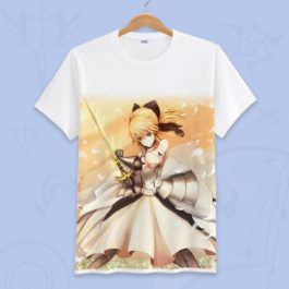 Anime Fate Go Game Fate grand order T Shirt Unisex Short Sleeve fgo T-shirt Fate Apocrypha saber Cosplay Tshirt Tops v1