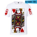Latest 3D Poker J Q K T-shirt Men/women Summer O-Neck sweatshirts Fashion 3D Poker White T shirt Boys/girls Casual T-shirt v2