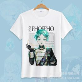 Anime Land of the Lustrous Short Sleeve T-shirt Cosplay Costume Cute Cartoon Printed Daily Casual Tee Shirt v2