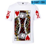 Latest 3D Poker J Q K T-shirt Men/women Summer O-Neck sweatshirts Fashion 3D Poker White T shirt Boys/girls Casual T-shirt v3
