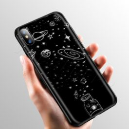 Space Moon Cute Cats Case for Apple iPhone 11 Pro XS Max XR X 8 7 6 6S Plus 5 5S SE v4