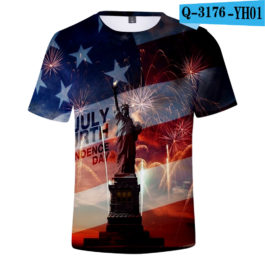 2019 New Independence Day 3D T shirts Men/women Summer Boys/girls Trendy Popular Cauual 3D Independence Day T-shirt Tees v6