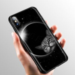 Space Moon Cute Cats Case for Apple iPhone 11 Pro XS Max XR X 8 7 6 6S Plus 5 5S SE v8