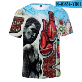 Classic Popular 3D Print Boxer Muhammad Ali t shirt Men/Women Summer boys/girls Short Sleeves 3D Tees Cool Muhammad Ali T-shirt v9
