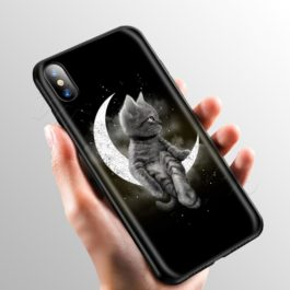 Space Moon Cute Cats Case for Apple iPhone 11 Pro XS Max XR X 8 7 6 6S Plus 5 5S SE v9